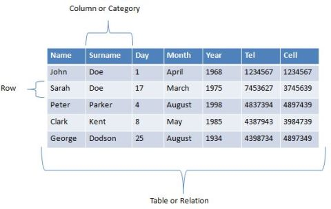 database example table