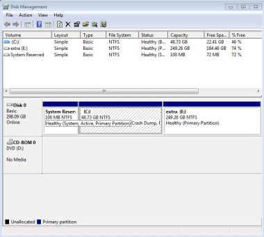 Windows 7 disk management