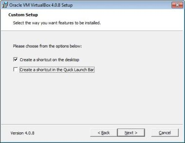 Virtualbox install features