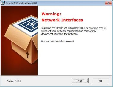 Virtualbox install network reset
