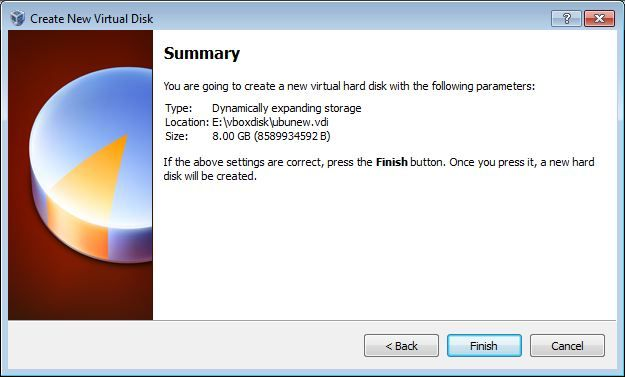 Virtual Box virtual disk summary