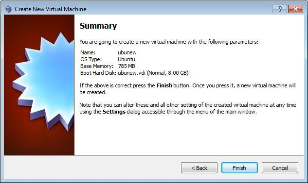 Virtual Box New VM summary