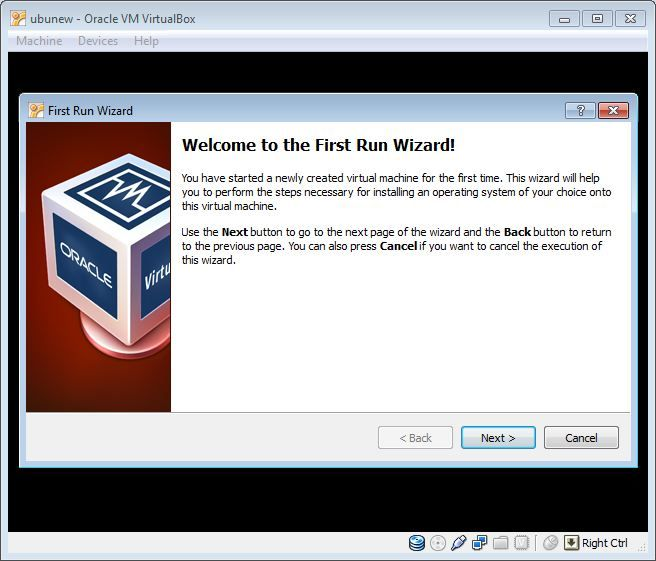 Virtual Box OS install wizard
