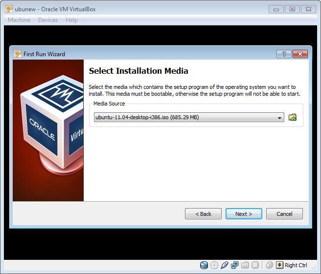 Virtual Box OS install media