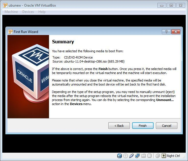 Virtual Box OS install summary